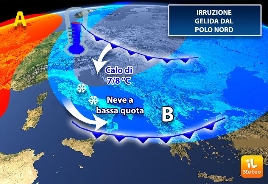In arrivo un'ondata di gelo che colpirà il Sud in primis la Campania.Ecco quando